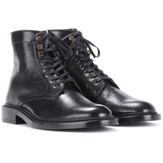 Saint Laurent Army 25 Leather Ankle Boots ($1,230) ❤ liked on Polyvore featuring shoes, boots, ankle booties, black, short black boots, black booties, leather booties, black leather boots and leather ankle boots