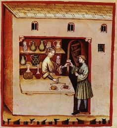 """A medieval pharmacy depicted in the Tacuinum sanitatis, an illustrated herbal based on the """"Taqwīm as‑siḥḥah"""" of Ibn Butlan. Medieval Market, Medieval Life, Medieval Manuscript, Illuminated Manuscript, History Of Pharmacy, Renaissance, Statues, Medieval Paintings, Late Middle Ages"""