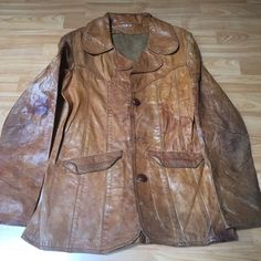 "VINTAGE 1960'S ""EAST WEST MUSICAL INSTRUMENTS"" LEATHER JACKET -STASH POCKET - NR"