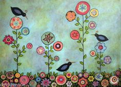 Meadow-Blackbirds-8x10-CANVAS-Giclee-Print-Karla-Gerard