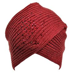 Burgundy Thick Knit Turban Wrap Beanie Hat With Rhinestone Front