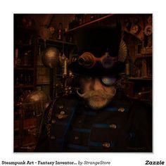 Steampunk Art - Fantasy Inventor Captain Sean Poster