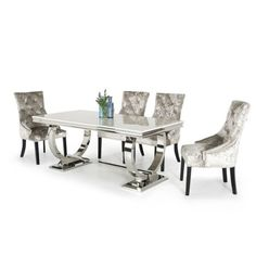 Beautiful Arianna Cream Marble Chrome 7 Piece Dining Set with EDEN CHAIRS Dining Furniture Sets from top store White Glass Dining Table, Marble Top Dining Table, White Leather Bar Stools, Dining Furniture Sets, Elegant Dining Room, 7 Piece Dining Set, Extendable Dining Table, Dining Tables, Table And Chairs