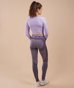 Gymshark Seamless Long Sleeve Crop Top - Soft Lilac Marl | @giftryapp
