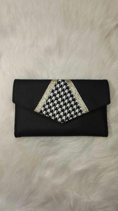 portefeuille simili cuir noir et tissu imprimé pieds de poule : Porte-monnaie, portefeuilles par couture-access