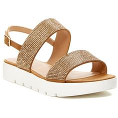 Aldo Owenna Flat Sandal ($50) ❤ liked on Polyvore featuring shoes, sandals and gold