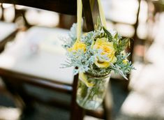 Garden Rustic Shabby Chic Summer Green Yellow Aisle Markers Wedding Ceremony Photos & Pictures - WeddingWire.com