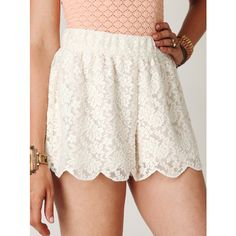Free People Scalloped Lace Skort ($78) ❤ liked on Polyvore