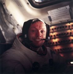 Neil Armstrong tears up after walking on the moon. 1969.