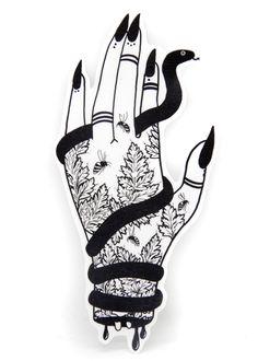 """Her Wicked Left Hand"" with Snake and Hemlock Vinyl Sticker"
