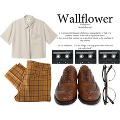 The Perks Of Being A Wallflower. by hippierose on Polyvore featuring Monki, See by Chloé, churchs, CASSETTE, loose shirts, cat eye sunglasses, pleated pants, oxford shoes, plaid and cigarette pants