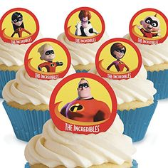 Cakeshop 12 x PRECUT Disney Pixar The Incredibles Edible Cake Toppers *** Click for Special Deals #DisneyIncredibles Disney Incredibles, Disney Pixar, Master Baker, Best Edibles, Edible Cake Toppers, Wafer Paper, Lactose Free, Nut Free, The Best
