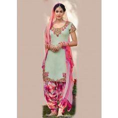 Pastel Pink Cotton Punjab Suit