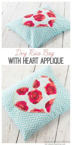 DIY Rice Bag with Heart Appliqué on iheartnaptime.com -cute and easy!