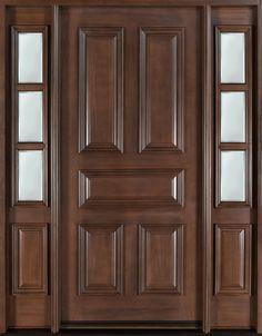 Classic Series Wood Entry Door, Single with 2 Sidelites - traditional - front doors - Doors For Builders Inc External Wooden Doors, Custom Interior Doors, Wood Entry Doors, Wooden Door Design, Solid Doors, Double Doors, Exterior Doors, Exterior Paint, Front Entry
