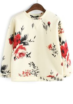 Beige Floral Round Neck Loose Cotton Blend Sweatshirt
