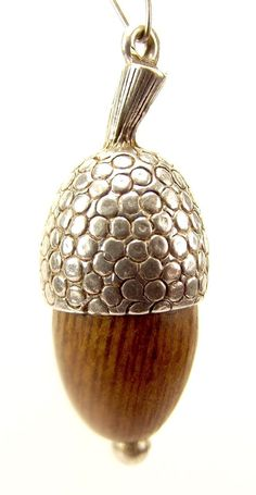 Antique Victorian Silver Touch Wood ACORN Charm Fob Pendant from m4gso on Ruby Lane