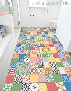 Patchwork Cement Tile Bathroom Floor from Villa Lagoon Tile. Love it!