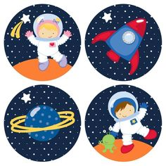 Outer Space Astronaut Stickers for Boys and Girls - Kids Birthday Party Favor Stickers - Set of 50