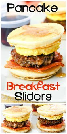 These Pancake Breakfast Sliders are a GREAT way to start the day! Diese Pancake Breakfast Sliders sind ein großartiger Start in den Tag! Best Lunch Recipes, Best Breakfast Recipes, Brunch Recipes, Crockpot Recipes, Vegetarian Recipes, Dinner Recipes, Casserole Recipes, Pasta Recipes, Soup Recipes