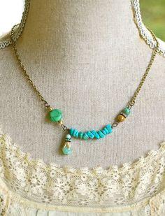 Samantha.turquoise beaded rhinestone bohemian by tiedupmemories, $23.00