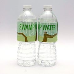 Swamp Water bottle labels for bayou, alligator or reptile birthday party! Also in orange.