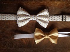 Sibling Set Gold and White Bow Tie/Headband by BrileyBean on Etsy