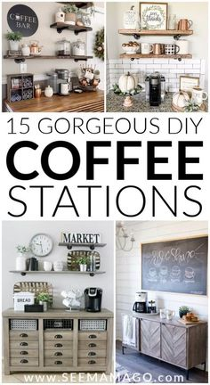 DIY Coffee stations you can easily create in your own home! These simple farmhou. - DIY Coffee stations you can easily create in your own home! These simple farmhouse style coffee bars are exactly the decor your home needs! Coffee Bars In Kitchen, Coffee Bar Home, Dyi Coffee Bar, Coffe And Wine Bar, Coffee Kitchen Decor, Coffee Bar Ideas, Kitchen Hutch, Bar Kitchen, Coffee Signs