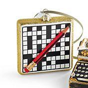 Vintage Crossword Puzzle Christmas Ornament