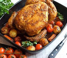Tomatoes pair whell with baked chicken. See the fabulous range of recipes in this article Baked Whole Chicken Recipes, Whole Food Recipes, Homemade Tacos, Homemade Taco Seasoning, How To Grill Steak, Refried Beans, Ground Beef Recipes