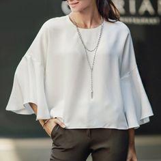 Elegant Round Neck White Long Sleeve T-Shirt For Women