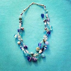 Blue beaded necklace by JerseaGirlSeaGlass on Etsy, $30.00