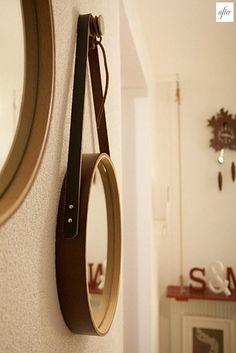 Miroir suspendu lanière en cuir