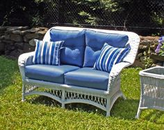 "Princeton Outdoor Wicker Loveseat . $955.00. ALL WEATHER Wicker! Maintenance-free premium outdoor vinyl wicker Framed on Aluminum Wicker Available in Crisp White or Rich Chocolate Brown Color Choose from over 100 designer outdoor fabrics! _______________ Measurements: Loveseat: 56""w, 32""d, 38""h"