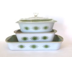 Vintage Glasbake Green Starburst 4 Piece Casserole  Lasagna Pan and Loaf Pan with Green Lining - Mid Century  by cocoskitchen