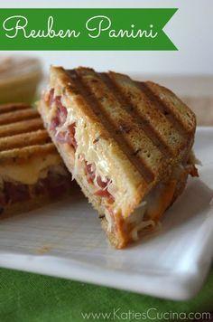 Reuben Panini from KatiesCucina.com @KatiesCucina #Irish #Sandwich #Recipe