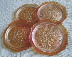 "Jeannette Iridescent Iris and Herringbone 9"" Dinner Plates, $160/Set of 4 at raccoonstale on ebay, 8/16/15"