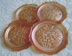 "Jeannette Iridescent Iris and Herringbone 9"" Dinner Plates, $160/Set of 4 at raccoonstale on ebay, 8/16/15"
