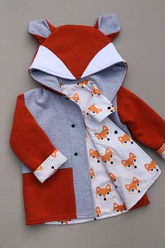 Fox Coat, Fox Jacket, Baby's Winter Coat, Cute Kids Animal Coat, Toddlers Washable Winter Coat,