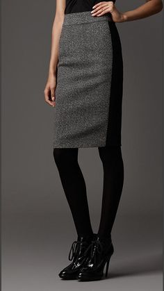 Falda de tubo en lana   Burberry