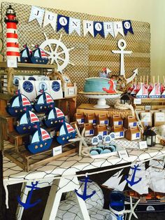 Love everything about this nautical birthday party! Sailor Baby Showers, Navy Baby Showers, Baby Boy Shower, Sailor Birthday, Baby Birthday, Birthday Party Themes, Baby Shower Marinero, Sailor Theme, Nautical Party