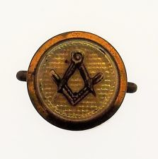 Antique Vintage Old Masonic Emblem Stud Button Hole Badge Button