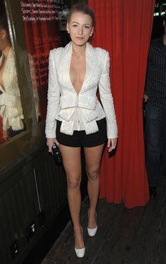 Blake Lively Wears Marchesa Low-Cut Blazer With Bow | POPSUGAR Fashion