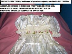 silk rose petal on smocking size 4 years for sale...ONE OFF CREATION raw silk ivory
