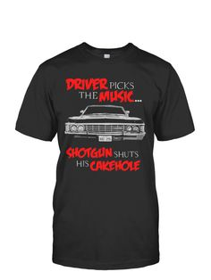 Driver Picks The Music | TeeChip #supernatural #super #natural #winchesters #samwinchester #deanwinchester #chevyimpala