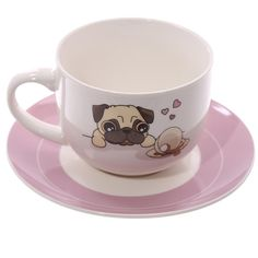 Coffee Cup Cappuccino Mug and Saucer Cute Pug Gift by getgiftideas