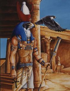 Horus at his main Temple in Edfu by Hbruton                                     All the costume, jewelry and backgrounds in these paintings are based on real places and objects. 24x33, acrylic on illustration board.
