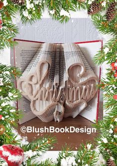 Christmas Book Folding Pattern DIY Unusual Unique Gift PDF by BlushBookDesign on Etsy Unique Wedding Gifts, Unique Weddings, Unique Gifts, Happy Wedding Day, Hearts And Roses, Book Folding Patterns, Folded Book Art, Christmas Books, Any Book