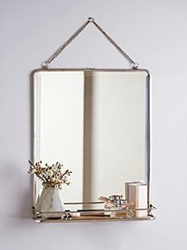 A larger version of our bestselling French Folding Mirror; this mirror includes a delicate bevelled edge, chain for hanging and a foldaway shelf. Our large mirror will add a touch of French style to your bedroom or bathroom. Bathroom Mirror With Shelf, Bathroom Mirrors Diy, French Bathroom, Diy Mirror, Bathroom Layout, Bathroom Colors, Mirror Ideas, Mirror Hanging, Mirror Vanity