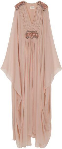Marchesa Pink Embellished Chiffon Kaftan Gown